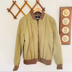 H&M Quilted Tan Bomber Jacket